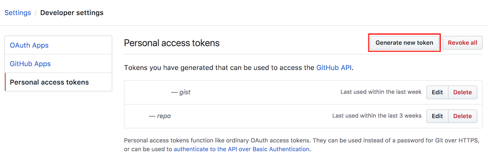 Goto Settings / Personal Access Tokens